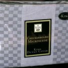 Suite 109 Duvet Comforter Cover King Grey Gray Micro Suede Checked Designer New