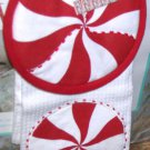 Kitchen Towel Pot Holder Peppermint Candy Holiday Red White Pinwheel Striped New