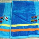 Just For Bath Hand Towel Set Blue Trucks Boy Spa Cotton Terry Velour 2pc New