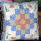 Thats Mine Pillow Garden Path Applique Embroidery Patchwork Pieced Blue New