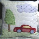 That's Mine Pillow Car Roadways Applique Embroidered Decor Kids Expression New