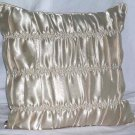 "Candies Bed Pillow Ruched Ivory Satin Copper Bibi Decor 16x16"" Decorative New"