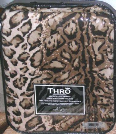 Marlo Lorenz Thro Sheet Set Queen Fitted Leopard Brown Microluxe Ulta Soft 3 Pc