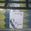 Style & Co Comforter Set Full Dewdrop Modern Retro Stripe 100% Cotton 7 Pc New