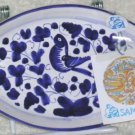 Sambuco Tray Italian Majolica Blue Bird Oval Handled Trinket Appetizer Decor New