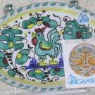 Sambuco Tray Italian Majolica Teal Rooster Oval Handled Appetizer Trinket New