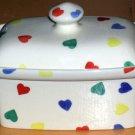 Moorland Ceramic Trinket Box & Lid Staffordshire Stoneware Mini Hearts Burslem