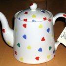 Moorland Teapot Tea Ceramic Stoneware Staffordshire Hearts Burslem England Small
