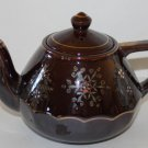 Vintage Teapot Brown Floral Hand Painted Gold Gilding Redware Collectible Japan