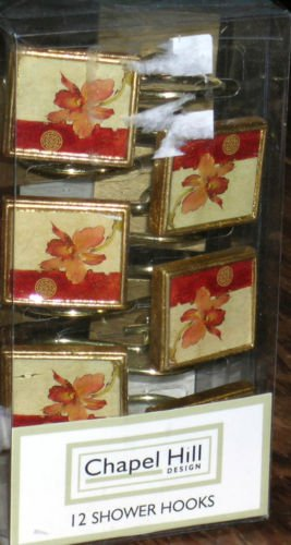 Cheri Blum Shower Curtain Hooks Chinoiserie Decorative Floral New in Box