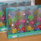 Pink Flamingo Coolers Palm Tree Acrylic Tiki Coolers Tumblers Beach Set 8 New