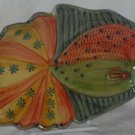 Ita Lica Ars Tray Fish-Shaped Figural Appetizer Hand Painted Italy Geometric New