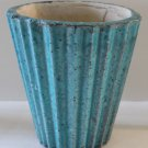 Turquoise Planter Ribbed Channeled Crackle Glaze Pottery Home Decor New