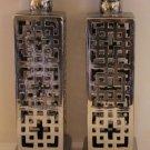 Silver Pillar Candle Holders Glazed Ceramic Pierced Geometric Design Set 2 New