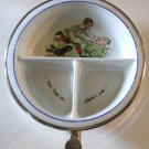 Vintage Excello Bay Food Dish Warmer Metal Porcelain Nursery Rhyme 3 Section