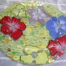 Hand Painted Art Glass Platter Floral Blossoms Embossed Decor Serve Plate New