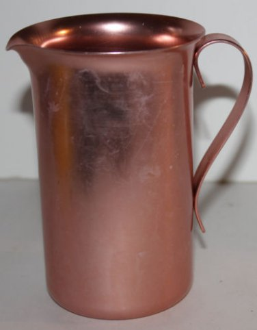 Vintage Color Craft Pitcher Salmon/Peach Aluminum Individual Milk Jug 2 Cup USA