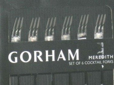 Gorham Lenox Cocktail Forks Meredith Stainless Steel 6 Piece New