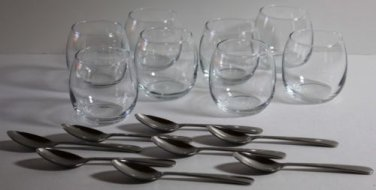 Libbey Glass Bowls & Spoons Mini Dessert Fruit Glasses Aperitif 16 Piece Set New