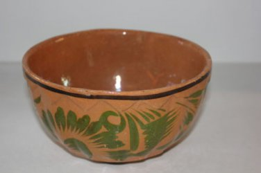 Vintage Mexico Bowl Hand Painted Serving Rustic Geometric Redware Ceramic