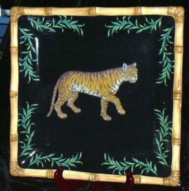 Raymond Waites Serving Platter Safari Jungle Tiger Pictorial Stoneware New