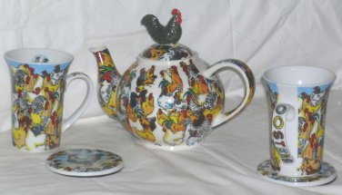 Paul Cardew Teapot Mugs Coasters Canisters Set Roosters Chickens Figural 10pc