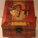 Elephant Fan Box Container Small Trunk Handled Wood Storage Taj Mahal British