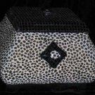 Paris Apt Storage Box Lid Padded Fabric Wood Leopard Spots Sequins Jewelry New