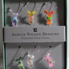 Ashley Nicole Wine Charms Decorative Enameled Metal Beaded Flip Flops Set 6 New