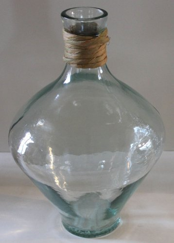 Recycled Glass Vase Bottle Belly Shaped Wicker Neck Green New Spain