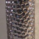Silver Vase Tall Ceramic Designer Elegant Organic Dimple Impressed Floral New