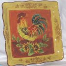 Rooster Plate Sunflowers Pictoral Tuscan Style Toile Square Dinner OverSized New
