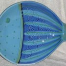 Sara Italy Platter Serving Large Hand Painted Fish-Shaped Stoneware Blue New