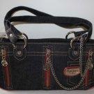 Pepe Jeans London Handbag Black Denim Chrome Chains Zippers Leopard Print New