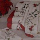Lenox Towel Set 12 Days of Christmas Partridge Pear Velour Terry Cotton 2 Pc New