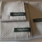 Vera Wang Towel Set Gray Egyptian Cotton Loops Geometric Quilted Terry 3 Pc New