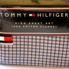 Tommy Hilfiger Flannel Sheet Set King Prep School Plaid Navy Red White 4pc New