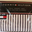 Tommy Hilfiger Flannel Sheet Set Full Ticking Striped Navy Red White 4pc New