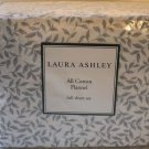 Laura Ashley Flannel Sheet Set Full Caitlyn Soft Gray Leaf Nature Print 4 pc New