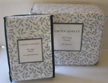 Laura Ashley Flannel Sheet Set Full Caitlyn Gray Leaf 6pc Extra Pillowcases New
