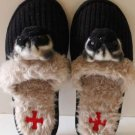 Fuzzynation Slippers Pug Dog Scuffs Black Knit Faux Fur X Large 9 1/2-10 1/2 New
