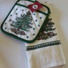 Spode Kitchen Towel & Pot Holder Set Christmas Tree Terry Cloth Pictorial New