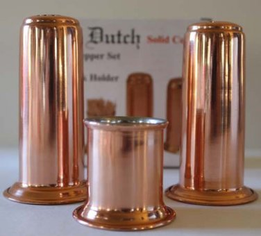 Old Dutch Salt Pepper Shakers Toothpick Holder Set Solid Copper Nickel Lined New