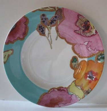 Lenox Plate Stephanie Ryan Floral Fusion Aqua Blue Accent Snack Dessert New
