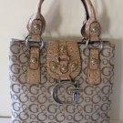 Guess Handbag Tote Handbag Jacquard Ozzie Flap Top Moose Initial Mock Croc New