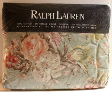Ralph Lauren Sheet Charlotte IV Green Floral Full Fitted 100% Cotton No-Iron New