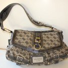 Guess Handbag Satchel Jacquard Antonia Flap Top Black Initial Faux Leather New