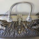 Guess Handbag Allegra Zebra Shoulder Bag Satchel Travel Overnight Lap Top New