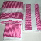 Ralph Lauren Towel Set Crystal Cay Fuchsia Pink Stripes Cotton Terry Set 3 New