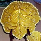Olfaire Majolica Bolw Golden Maple Leaf Soup Cereal Embossed Ceramic New
